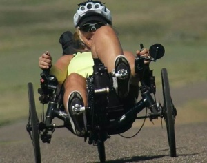 Catherine (Cat) Brubaker riding her recumbent tricycle on 5,200 mile diagonal crossing of USA - from Washinton (state) to Florida