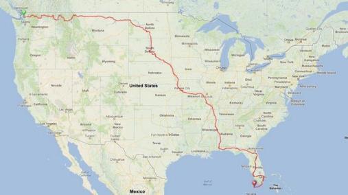 From Anacortes, Washington to Key West, Florida (5,200 miles)